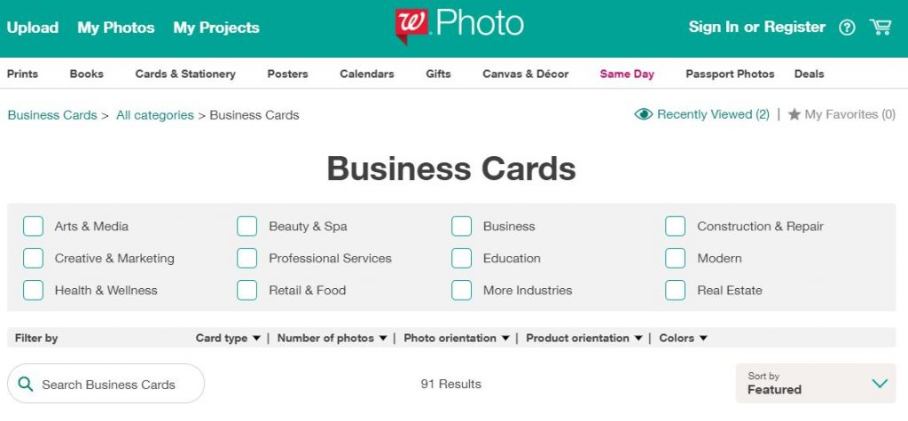 Walgreens Business Cards