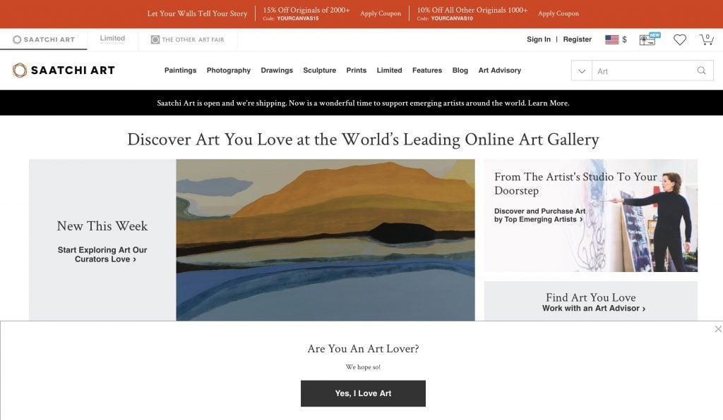 Saatchi Art website