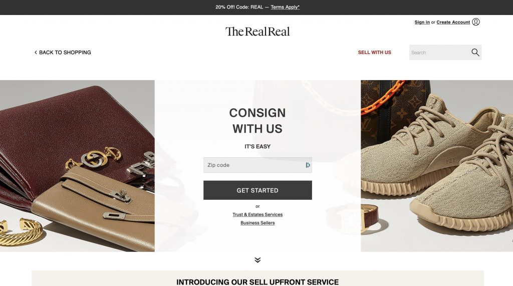 The RealReal website